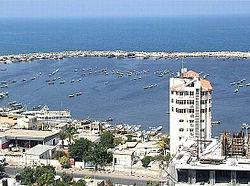 Blick auf den Hafen von Gaza