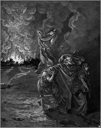 Fire and brimstone - Lot and his family flee from Sodom, one of Gustave Doré's illustrations for La Grande Bible de Tours.