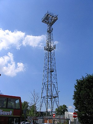 Upminster station - Floodlight tower at the Upminster depot which illuminates the whole site and can be seen miles beyond.