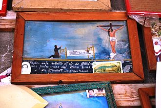 Votive paintings of Mexico - Votive paintings to the Señor de Chalma for the recuperation of a child from a pulmonary problem