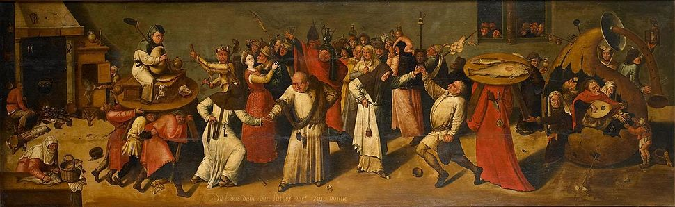 The Burgundian Carnaval depicted by a follower of Jheronimus Bosch, c.1600 – c.1620, The man on the table with the bagpipes depicting Carnaval, The lady bringing the plate of fishes towards the kitchen on the left representing the approaching of lent, and the people in between celebrating before the fasting begins.