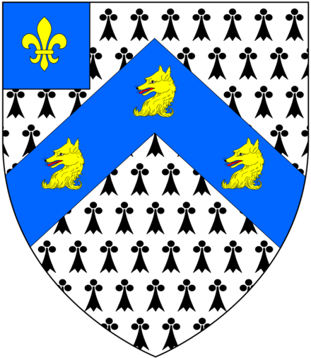 Canting arms of Fox, Baron Holland: Ermine, on a chevron azure three fox's heads and necks erased or on a canton of the second a fleur-de-lys of the third Fox (BaronHolland) Arms.png