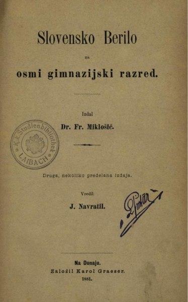 File:Franc Miklošič - Slovensko berilo za osmi gimnazijski razred.pdf