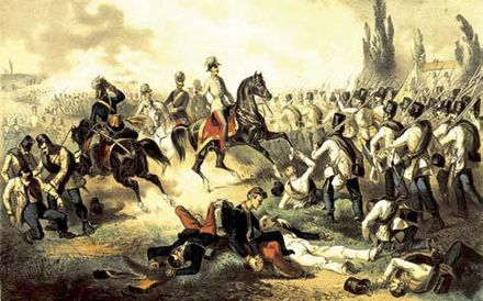 Franz Joseph among his troops at Solferino, fought during the Franco-Austrian War of 1859 Francesco Giuseppe fra le truppe a Solferino 1859.jpg