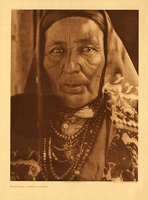 Pueblo of Isleta - Francisca Chiwiwi, Isleta Pueblo, circa 1925. Photo by Edward Curtis.
