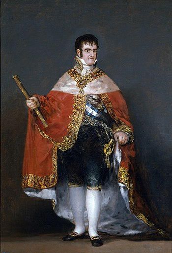 Ferdinand VII of Spain, who abolished the Spanish Constitution of 1812 in 1814. Portrait by Francisco Goya, 1814. Francisco Goya - Portrait of Ferdinand VII of Spain in his robes of state (1815) - Prado.jpg