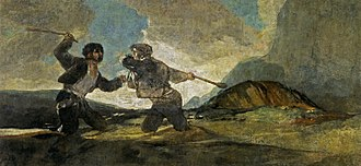 Costumbrismo - Some of the work of Goya can be seen as prefiguring costumbrismo, especially as practiced in Madrid. Here, the Fight with Cudgels, one of Goya's Black Paintings.