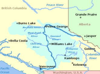 Fraser Valley - Map showing the Fraser River and its major tributaries.