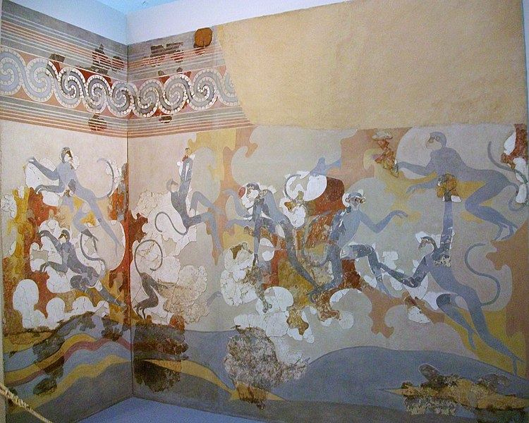File:Fresc dels micos blaus, Akrotiri, segle 17 aC, Museu de la Prehistòria de Thira.JPG
