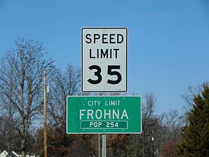 Frohna, Missouri - Frohna, Missouri, road sign