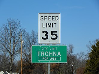 Frohna, Missouri - Frohna, Missouri, road sign