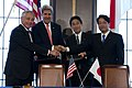 From left, U.S. Secretary of Defense Chuck Hagel and U.S. Secretary of State John Kerry pass a document to Japanese Minister of Foreign Affairs Fumio Kishida and Japanese Minister of Defense Itsunori Onodera 131003-D-BW835-824.jpg