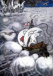 They sailed away once more over the blue sea.Frontispiece of an edition of Old Peter's Russian Tales