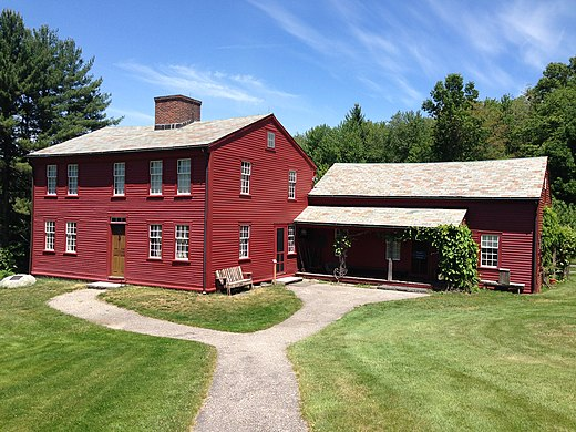 Fruitlands, a short-lived vegan community established in 1844 by Amos Bronson Alcott in Harvard, Massachusetts. Fruit lands Alcott house, 2015 2.jpg