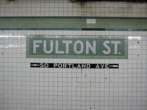 Fulton Street (IND Crosstown Line) - Fulton Street name tablet