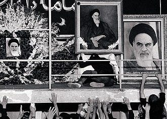 Death and state funeral of Ruhollah Khomeini - Mourning men in residency of Khomeini around his seat area, Jamaran.
