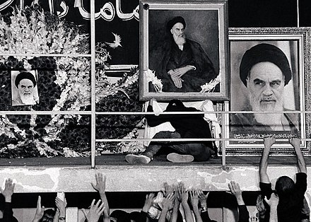 Mourning men in residence of Khomeini around his seat area, Jamaran, 4 June 1989. Funeral of Ruhollah Khomeini, 4 June 1989 (5).jpg