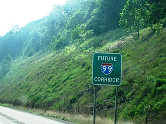 """U.S. Route 15 - """"Future I-99 Corridor"""" sign on US 15 southbound north of Williamsport"""