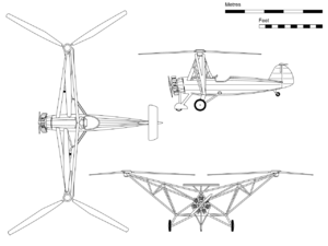 Focke-Wulf Fw 61 - Orthographic projection of the Fw 61 V2