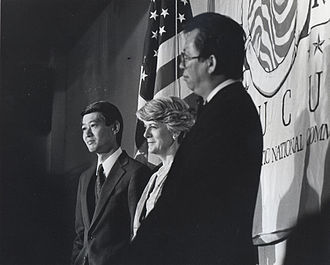 Bob Matsui - Congressman Bob Matsui with Geraldine Ferraro and Tom Hsieh at the 1984 Democratic National Convention in San Francisco.