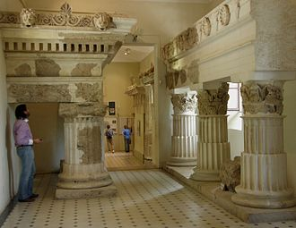 Archaeological Museum of Epidaurus - The large columns on display in the museum