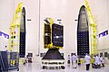 GSAT-6 seen with two halves of payload faring of GSLV-D6.jpg