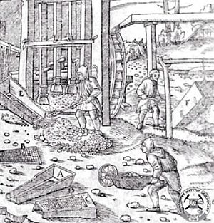 Stamp mill - Ore stamp mill in Georg Agricola's De re metallica (1556)