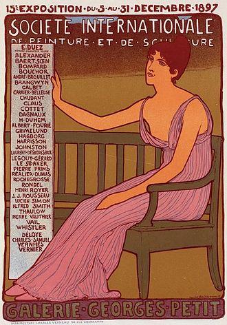 """Georges Petit - Poster by Maurice Réalier-Dumas (1860-1928) for the 15th """"Exposition de la Société internationale de Peinture et de sculpture"""" at the galerie Georges Petit in Paris in 1897."""