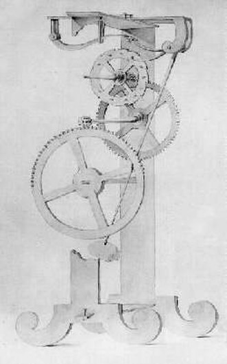 Pendulum clock - Pendulum clock conceived by Galileo Galilei around 1637. The earliest known pendulum clock design, it was never completed.