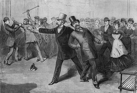 Garfield, shot by Charles J. Guiteau, collapses as Secretary of State Blaine gestures for help. Engraving from Frank Leslie's Illustrated Newspaper. Garfield assassination engraving cropped.jpg
