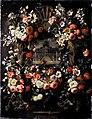 Gaspar Peeter Verbruggen - Still life of garlands of flowers adorning a carved stone window, a palace garden with David and Bathsheba beyond.jpg
