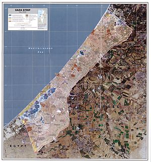 Gush Katif - Map of the Gaza Strip in May 2005, a few months prior to the Israeli withdrawal from Gush Katif. The Gush Katif settlement bloc was the blue-shaded region in the southwest of this map.