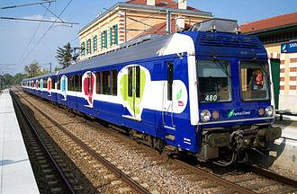 "SNCF Class Z 6400 - A refurbished Z6400 EMU in the ""Grande Ceinture Ouest"" version at Saint-Germain-en-Laye."