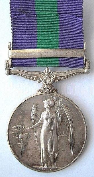 General Service Medal (1918) - Image: General Service Medal, Army & RAF, Reverse