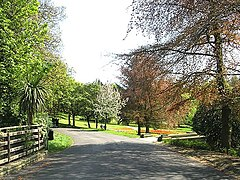 View of a path in Peel Park near the Bolton Road entrance