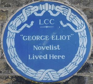 George Eliot - Blue plaque, Holly Lodge, 31 Wimbledon Park Road, London