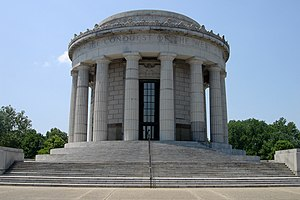 Vincennes' most recognizable landmark,  The George Rogers Clark National Historical Park Rotunda.