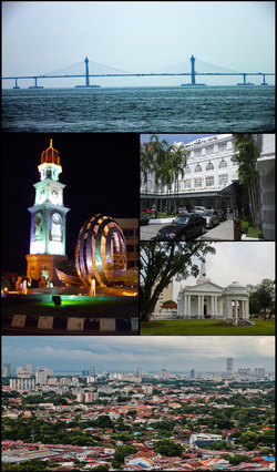 Clockwise from top right: Penang Bridge, Eastern & Oriental Hotel, St. George's Church, George Town city centre and Jubilee Clock Tower.