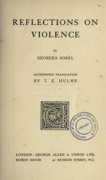 File:Georges Sorel, Reflections On Violence (1915).djvu