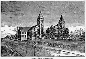 History of Georgia Tech - An 1888 engraving illustrates the modest Georgia Tech campus.