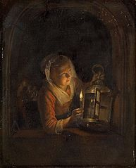 Young Woman with a Lantern in a Window