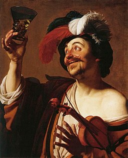 Gerard van Honthorst - The Happy Violinist with a Glass of Wine - WGA11668
