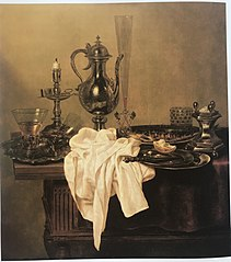 Still Life with Ewer, Platters, Candlestick, Saltcellar and Glassware on a Table