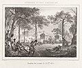 Gevechten bij het Koninklijk Paleis te Brussel, 1830 Intérieur du parc a Bruxelles Position des troupes le 25 7bre. 1830 (titel op object) Evénemens de Bruxelles, Anvers (1831) (serietitel), RP-P-OB-83.440.jpg