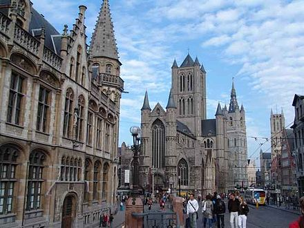 Historical centre of Ghent - from left to right: Old post office, Saint-Nicholas Church, Belfry, and Saint Bavo Cathedral. Ghent3.JPG