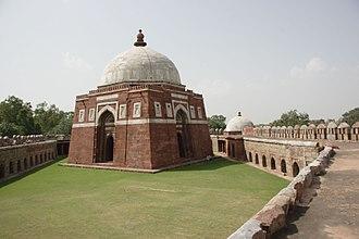 Tughlaqabad Fort - Mausoleum of Ghiyath al-Din Tughluq at Tughluqabad, also showing a side tomb.