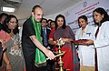 """Ghulam Nabi Azad lighting the lamp to inaugurate the Voluntary Blood Donation Camp and the """"Sensitization Workshop on Blood Safety– (Safe blood for All)"""" on the occasion of the National Voluntary Blood Donation Day.jpg"""