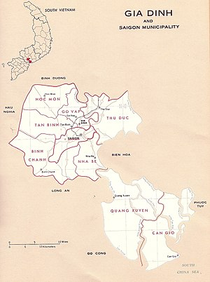 Gia Định Province - Map of Gia Dinh-Saigon province in the Republic of Vietnam.