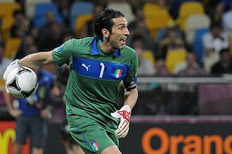 Goalkeeper (association football) - Gianluigi Buffon, pictured with the ball for Italy at UEFA Euro 2012, is the only goalkeeper to have won the UEFA Club Footballer of the Year Award.
