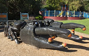 Tasmanian giant freshwater crayfish - Sculpture of a giant freshwater lobster in Burnie Park.